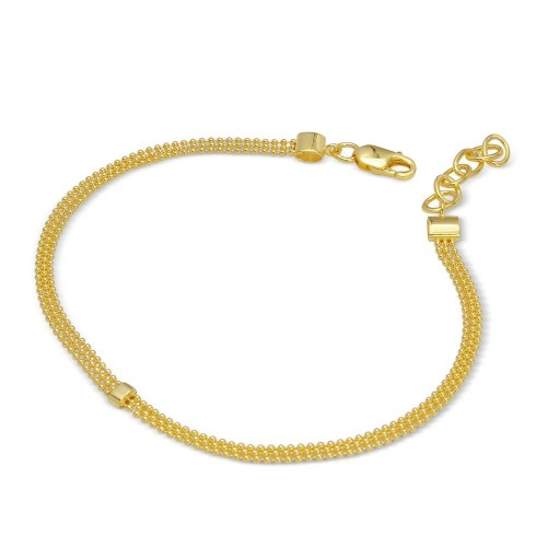 Wholesale Sterling Silver 925 Gold Plated Connecting Trio Bead Bracelet - DIB00014GP