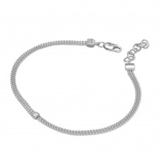 Wholesale Sterling Silver 925 Rhodium Plated Connecting Trio Bead Bracelet - DIB00014RH