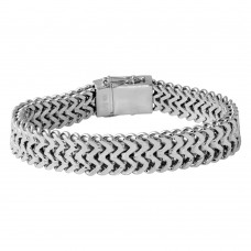 Wholesale Sterling Silver 925 Rhodium Plated Men's ZigZag Bracelet - CDIB00017RH