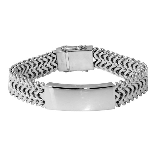 Wholesale Sterling Silver 925 Rhodium Plated Men's Thick ZigZag ID Bracelet - CDIB00019RH