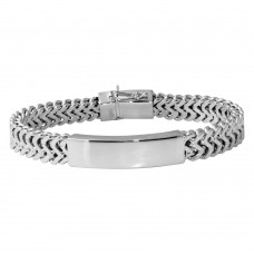 Wholesale Sterling Silver 925 Rhodium Plated Men's Zigzag ID Bracelet - CDIB00020RH