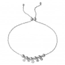 Wholesale Sterling Silver 925 Rhodium Plated Ball with Dangling Confetti Lariat Bracelet - DIB00021RH
