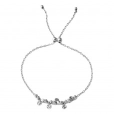 Wholesale Sterling Silver 925 Rhodium Plated Circe Hoop with Dangling Confetti Lariat Bracelet - DIB00023RH