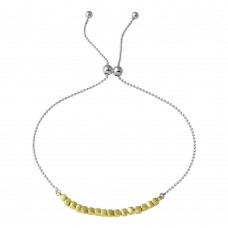 Wholesale Sterling Silver 925 Gold and Rhodium Plated Circe Hoop Lariat Bead Bracelet - DIB00022RH/GP