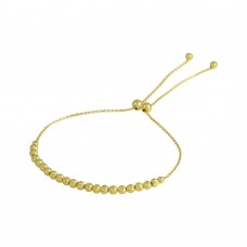Wholesale Sterling Silver 925 Gold Plated DC Beaded Lariat Bracelet - DIB00024GP