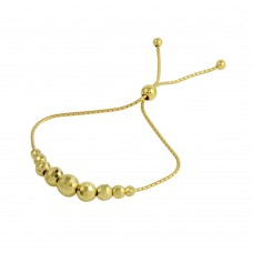 Wholesale Sterling Silver 925 Gold Plated DC Beaded Lariat Bracelet - DIB00025GP