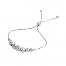 Wholesale Sterling Silver 925 Rhodium Plated DC Beaded Lariat Bracelet - DIB00025RH