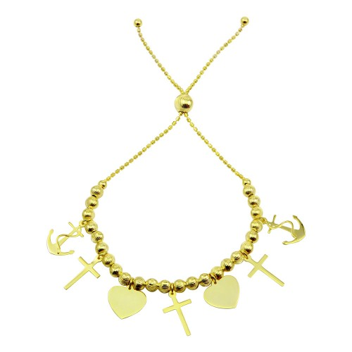 Wholesale Sterling Silver 925 Gold Plated Heart and Cross Charm Bracelet - DIB00040GP