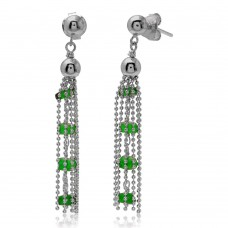 Wholesale Sterling Silver 925 Rhodium Plated Dropped Bead Chain and Green Bead Earrings - DIE00004RH-EM