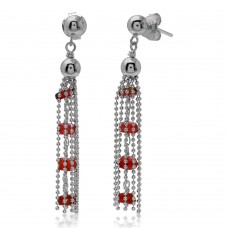 Wholesale Sterling Silver 925 Rhodium Plated Dropped Bead Chain and Dark Red Bead Earrings - DIE00004RH-GR