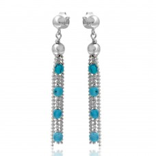 Wholesale Sterling Silver 925 Rhodium Plated Dropped Bead Chain and Turquoise Bead Earrings - DIE00004RH-TQ