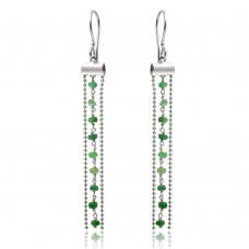 Wholesale Sterling Silver 925 Rhodium Plated Dangling Tassel Earrings with Green Beads - DIE00005RH-EM
