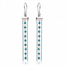 Wholesale Sterling Silver 925 Rhodium Plated Dangling Tassel Earrings with Turquoise Beads - DIE00005RH-TQ