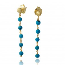 Wholesale Sterling Silver 925 Gold Plated Dangling Earrings with 5 Turquoise Beads - DIE00006GP-TQ