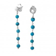 Wholesale Sterling Silver 925 Rhodium Plated Dangling Earring with 5 Turquoise Beads - DIE00006RH-TQ