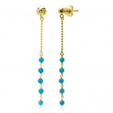 Wholesale Sterling Silver 925 Gold Plated Bead Chain with Dropped Turquoise Beads - DIE00007GP