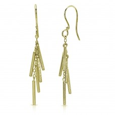 Wholesale Sterling Silver 925 Gold Plated Dropped Matte Gold Plated Bar Earrings - DIE00008GP