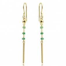Wholesale Sterling Silver 925 Gold Plated Dangling 3 Green Bead with Matte Gold Bar Earrings - DIE00009GP-EM