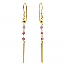 Wholesale Sterling Silver 925 Gold Plated Dangling 3 Dark Red Bead with Matte Gold Bar Earrings - DIE00009GP-GR
