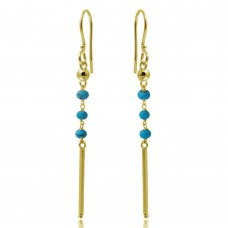 Wholesale Sterling Silver 925 Gold Plated Dangling 3 Turquoise Bead with Matte Gold Bar Earrings - DIE00009GP-TQ