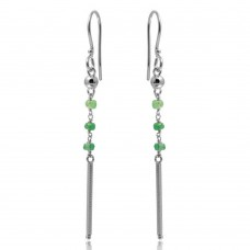 Wholesale Sterling Silver 925 Rhodium Plated Dangling 3 Green Bead with Matte Rhodium Bar Earrings - DIE00009RH-EM
