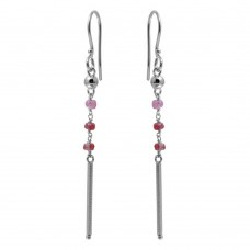Wholesale Sterling Silver 925 Rhodium Plated Dangling 3 Dark Red Bead with Matte Rhodium Bar Earrings - DIE00009RH-GR