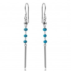 Wholesale Sterling Silver 925 Rhodium Plated Dangling 3 Turquoise Bead with Matte Rhodium Bar Earrings - DIE00009RH-TQ