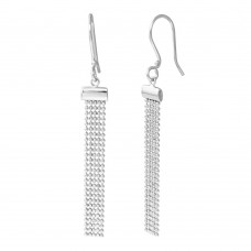Wholesale Sterling Silver 925 Rhodium Plated DC Bead Chain Tassel Earrings - DIE00010RH