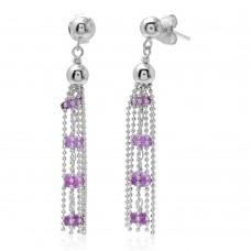 Wholesale Sterling Silver 925 Rhodium Plated Dropped Bead Chain and Purple Bead Earrings - DIE00004RH-AM