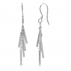 Wholesale Sterling Silver 925 Rhodium Plated Dropped Matte Rhodium Plated Bar Earrings - DIE00008RH