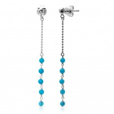 Wholesale Sterling Silver 925 Rhodium Plated Bead Chain with Dropped Turquoise Bead Earrings - DIE00007RH