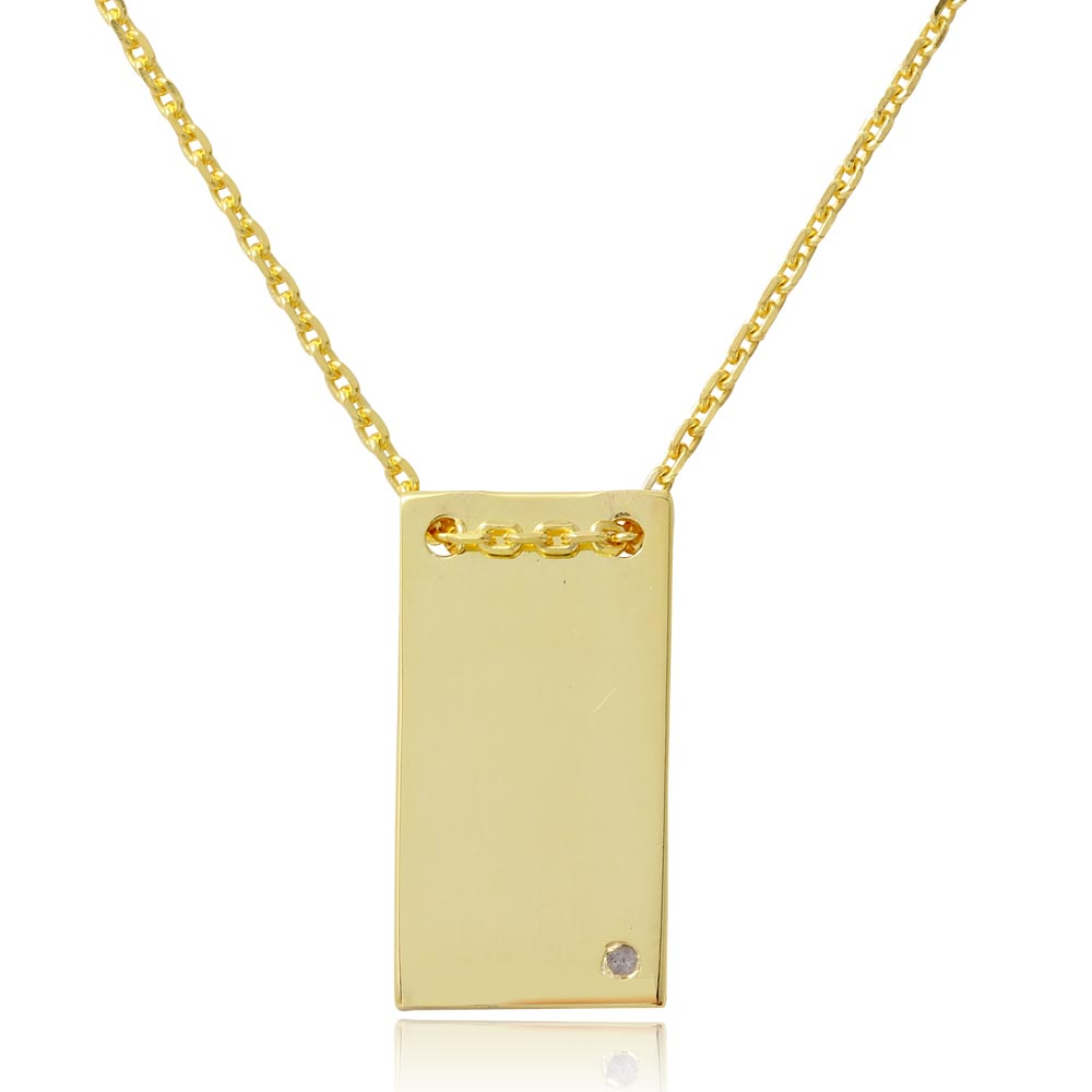 Wholesale Sterling Silver 925 Gold Plated Engravable Rectangular Shaped Necklace with CZ - DIN00075GP