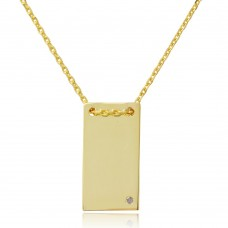 Sterling Silver Gold Plated Engravable Rectangular Shaped Necklace with CZ - DIN00075GP