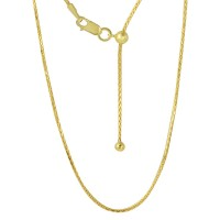 Wholesale Sterling Silver 925 Gold Plated Adjustable Franco Chain with Bead - DIN00010GP