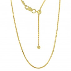 Sterling Silver Gold Plated Adjustable Franco Chain With Bead -DIN00010GP
