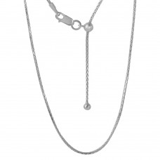 Sterling Silver Rhodium Plated Adjustable Franco Chain With Bead -DIN00010RH
