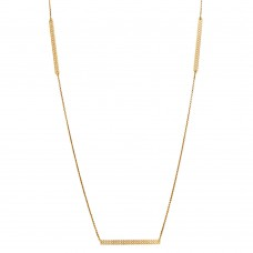 Sterling Silver Gold Plated Diamond Cut Bars Necklace - DIN00019GP