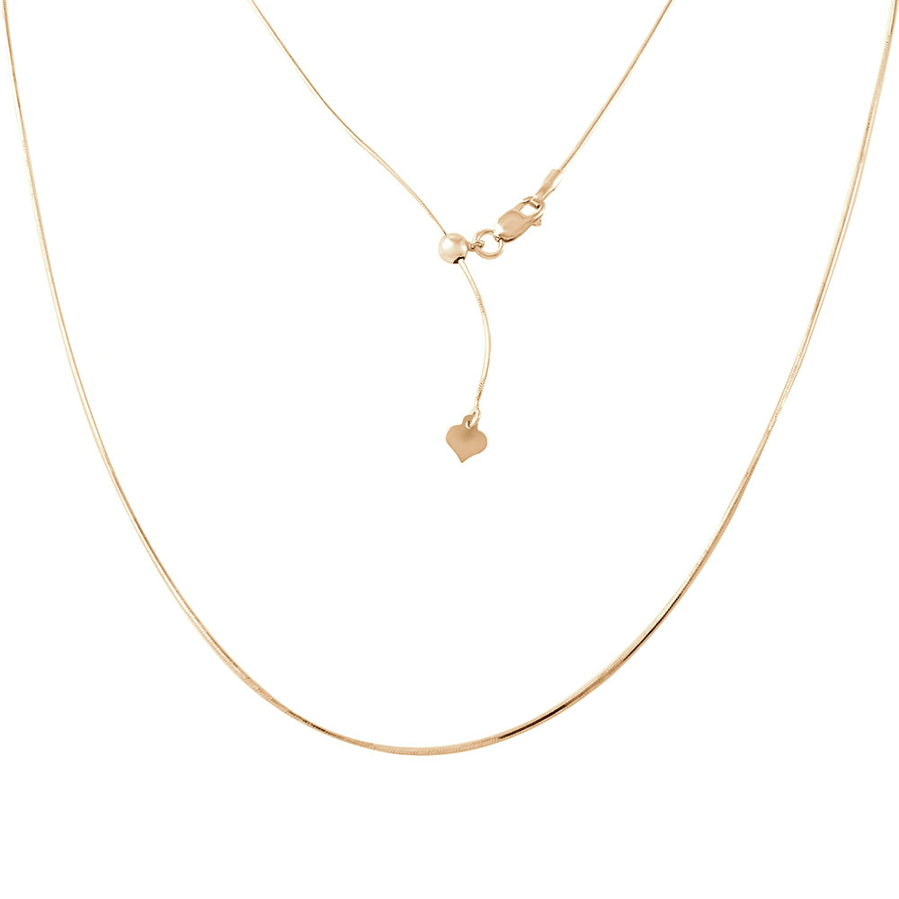 Wholesale Sterling Silver 925 Gold Plated Adjustable Snake Square Slider Chain with Bead - DIN00027GP