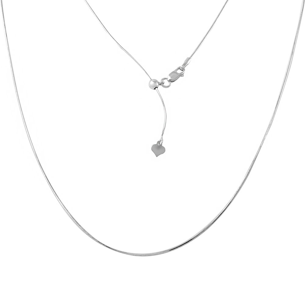 Wholesale Sterling Silver 925 Rhodium Plated Adjustable Snake Square Slider Chain with Bead - DIN00027RH
