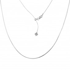 Sterling Silver Rhodium Plated Adjustable Snake Square Chain With Bead - DIN00027RH