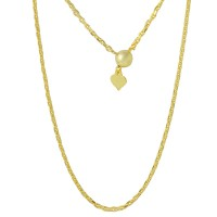 Wholesale Sterling Silver 925 Gold Plated Adjustable Diamond Cut Anchor Slider Chain - DIN00028GP
