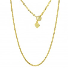 Sterling Silver Gold Plated Adjustable Diamond Cut Anchor Slider Chain - DIN00028GP