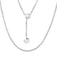 Wholesale Sterling Silver 925 Rhodium Plated Adjustable Diamond Cut Anchor Slider Chain - DIN00028RH