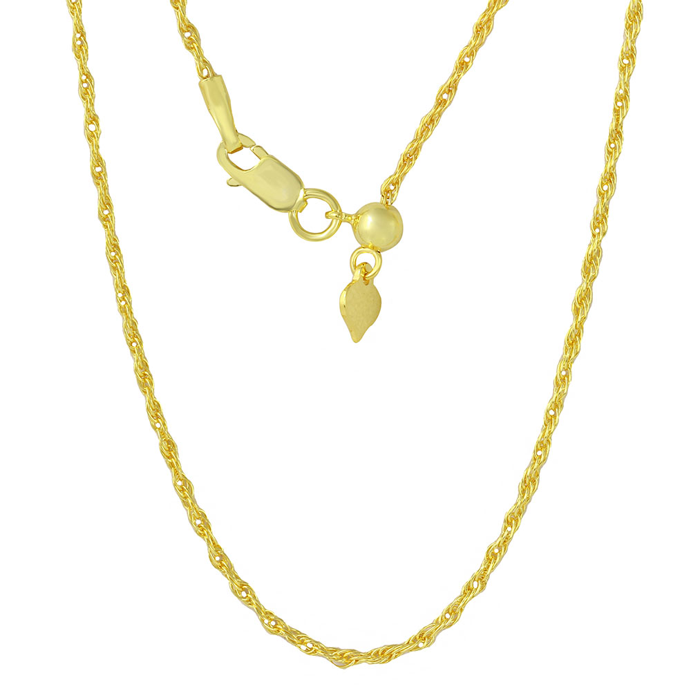 Wholesale Sterling Silver 925 Gold Plated Adjustable Rope Slider Chain - DIN00029GP