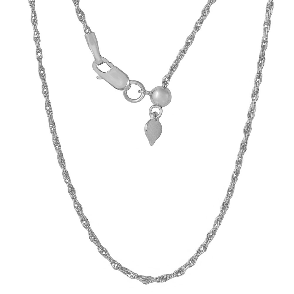 Wholesale Sterling Silver 925 Rhodium Plated Adjustable Rope Slider Chain - DIN00029RH