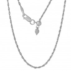 Sterling Silver Rhodium Plated Adjustable Rope Chain - DIN00029RH