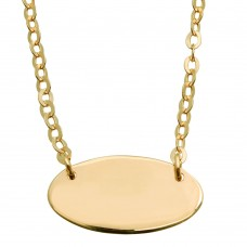 Sterling Silver Gold Plated Small Oval Disc Necklace - DIN00031GP