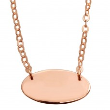 Sterling Silver Rose Gold Plated Small Oval Disc Necklace - DIN00031RGP