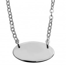 Sterling Silver Rhodium Plated Small Oval Disc Necklace - DIN00031RH