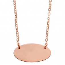 Sterling Silver Rose Gold Plated Medium Oval Disc Necklace - DIN00032RGP